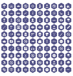 100 tension icons hexagon purple vector