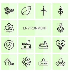 14 environment icons vector