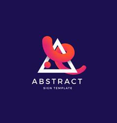 abstract blend curve in a trinagle symbol vector image