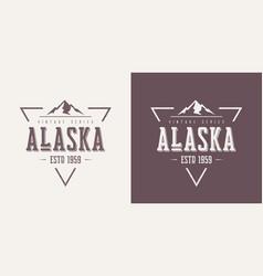 alaska state textured vintage t-shirt and vector image