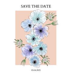 anemones blue violet watercolor print trendy vector image