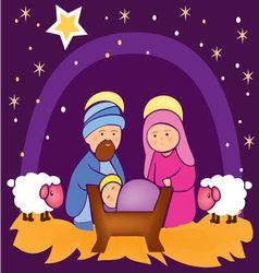 Baby Jesus in a manger 4 vector image