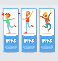 Banners with boys in costumes and with festive vector