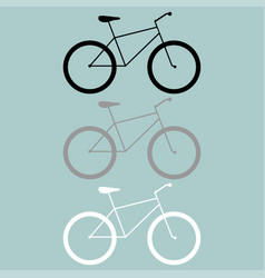 Bicycle black grey white icon vector