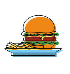 burguer on plate vector image