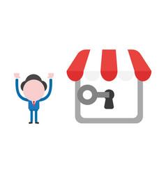 Businessman character unlock shop store keyhole vector