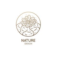 cactus logo template emblem blossoming vector image