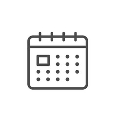 Calendar line outline icon and page symbol vector