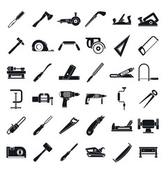 carpenter construction icon set simple style vector image