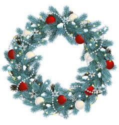 christmas blue fir wreath vector image