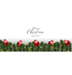 christmas greeting card red pine tree baubles vector image