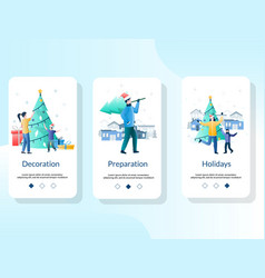 Christmas mobile app onboarding screens vector