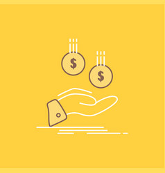coins hand currency payment money flat line vector image
