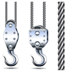 Crane Hooks and Steel Rope vector