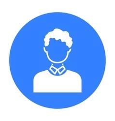 Curly boy icon black Single avatarpeaople icon vector