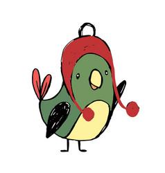 cute colorful cartoon bird funny sticker birds vector image