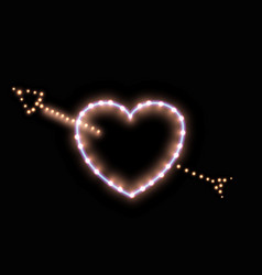 cute luminescent neon heart with lights lamps vector image