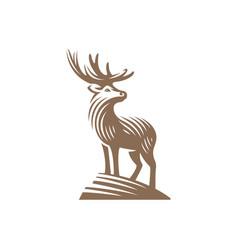deer emblem design isolated on white background vector image