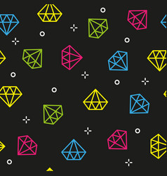 diamond colorful dark seamless pattern vector image
