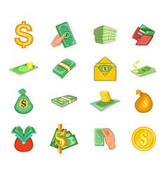 dollar icon set cartoon style vector image
