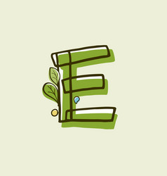 Eco style letter e logo hand-drawn with a marker vector