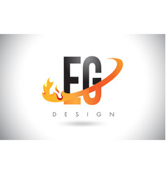 Eg e g letter logo with fire flames design and vector