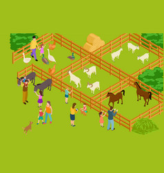 farm animals zoo isometric livestock and vector image