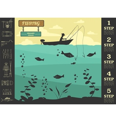 Fishing infographic elements Set elements for vector image
