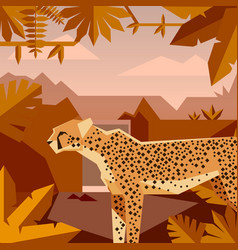flat geometric jungle background with cheetah vector image