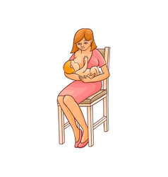 flat girl sitting at chair with infant baby vector image