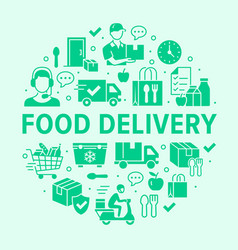 Food delivery circle poster with silhouette icons vector