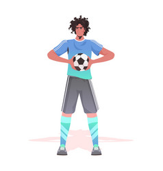 football player standing with ball man ready vector image
