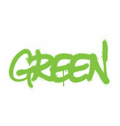graffiti green word sprayed in green over white vector image