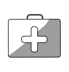 Grayscale silhouette with symbol of first aid kit vector