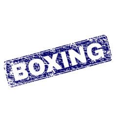 Grunge boxing framed rounded rectangle stamp vector