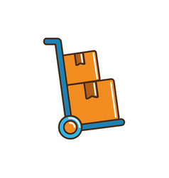 Hand cart with cardboard boxes cargo delivery line vector