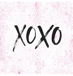 Hand drawn lettering xoxo kisses vector