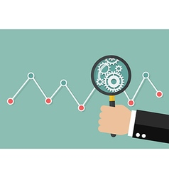 Hand holding magnifying glass with stock market vector image