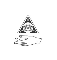 hand with triangle circle shape all-seeing eye vector image