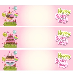 Happy Birthday card background with cakes vector