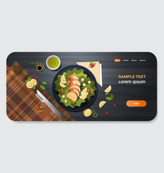 healthy fresh vegetable salad with chicken and vector image