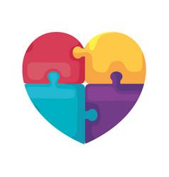 Heart puzzle pieces vector