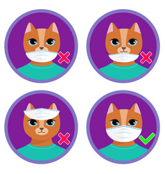 how to wear face mask - instruction for kids vector image