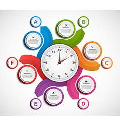 Infographics in the form of spirals and clock vector