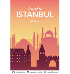 Istanbul famous city scape vector