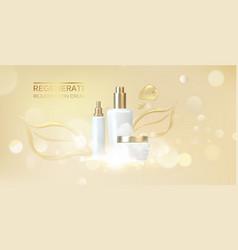 Jar of cream on golden background with golden jel vector