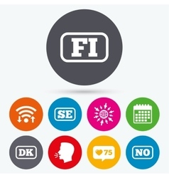 Language icons FI DK SE and NO translation vector image