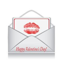 letter with a card inside and lip prints vector image