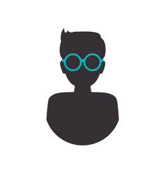 man male silhouette glasses vector image