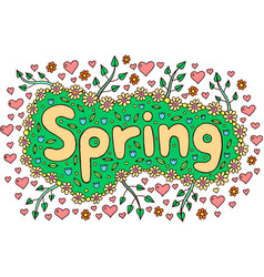 mandala and spring word doodle lettering colorful vector image